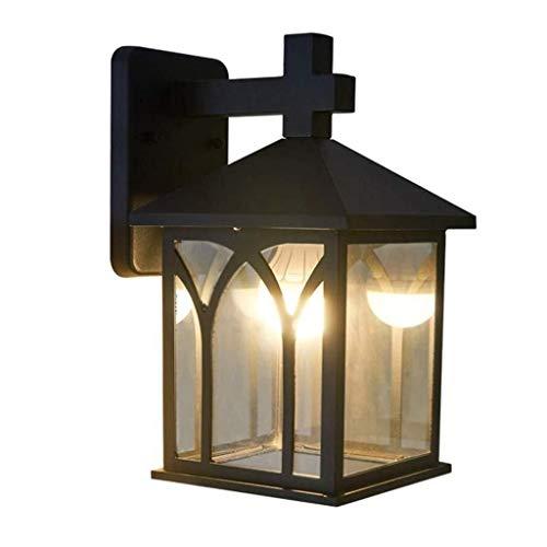 Lámpara de pared Jue al aire libre, de hierro forjado, resistente al agua, de cristal, con una sola cabeza, retro, creativa, sencilla lámpara de pared para balcón, puerta, exterior, jardín y pared, A++.