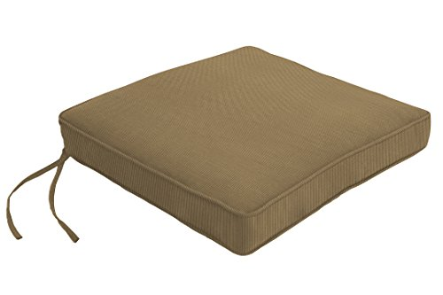 """Eddie Bauer Home Chair Pad Double Piped, 21"""" L x 19"""" W x 2.5"""" H, Spectrum Caribou"""