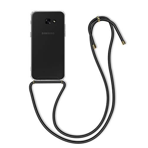 kwmobile Funda con Cuerda Compatible con Samsung Galaxy A5 (2017) - Carcasa Transparente de TPU con Cuerda para Colgar en el Cuello