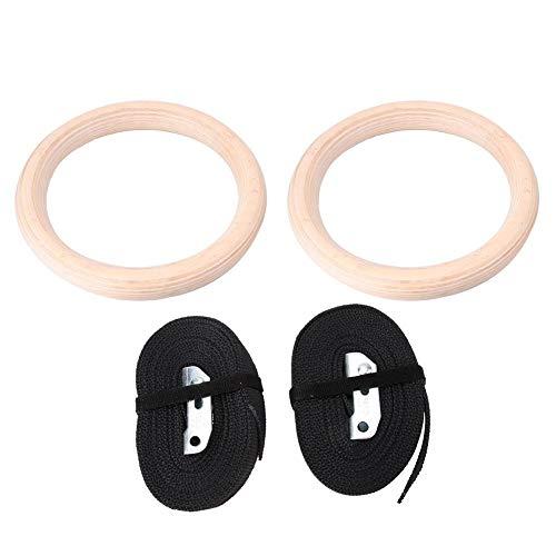 Tihebeyan EIN Paar Birken Gymnastikringe mit 2,5 cm Riemen, für Heimübungen, Workout, Bodybuilding Erwachsene Leichtathletik Mann Frau