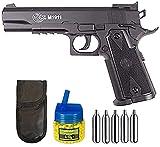 Tiendas LGP – Pistola Colt 1911 Match de Co2. Calibre 6 mm. Funda Portabombonas, 500 Bolas 0,12 gr. y 5 Bombonas CO2. 1 Julio