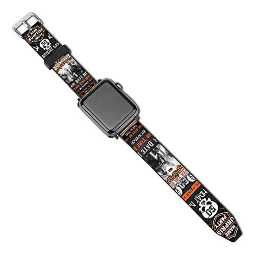 Harley Davidson th correas compatibles con Apple Watch Correa de 38 mm 40 mm, correa de cuero de repuesto compatible con Apple Watch SE, Series 5/4/3/2/1