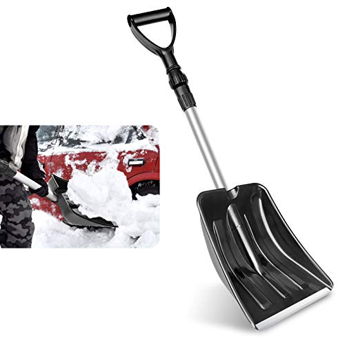 FALDAA Snow Shovel, Portable Shovel Detachable Plastic Emergency Snow Shovel with Adjustable Handle and Stainless Steel Pole for Car Truck Driveway Camping and Outdoor Emergency