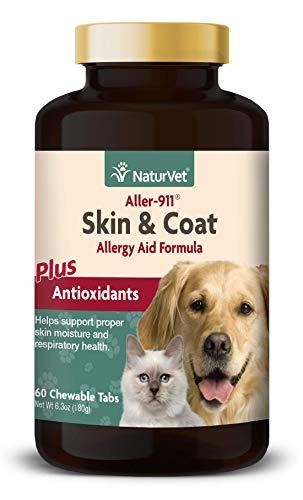 NaturVet aller-911Skin & Coat alergia Ayuda fórmula Plus antioxidantes para Perros y Gatos, 60CT chewabletablets, Fabricado en Estados Unidos