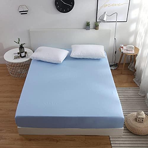 CYYyang Protector de colchón Transpirable.Rizo Bambú. Sábana de Cama de Color Liso una Pieza Antideslizante-Azul Cielo_180x200cm