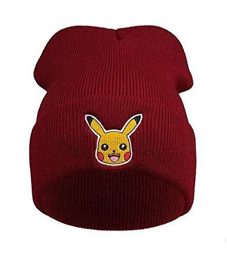 KIRALOVE Bonnet d'hiver pour Enfants et Unisexe - Taille Unique - Rouge Pokemon Pikachu