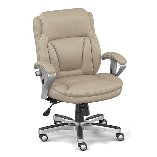 Taupe Faux Leather Petite Low Height Computer Chair - NBF Signature Series Status Collection