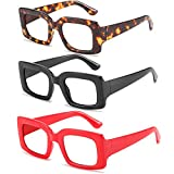 3 Pack Ladies Reading Glasses-Oversized Square Reader Eyeglasses for Women Fashion Leopard Print Glasses Frame + 0 to +4.0 (3pack-Black&red&Leopard, 2.5 x)