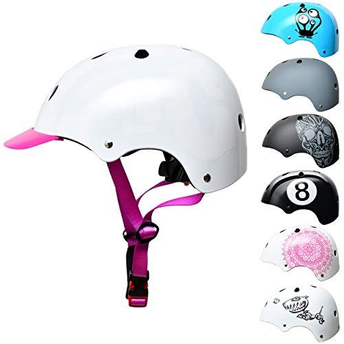 Skullcap® BMX Fahrradhelm mit Visier, City-Roller Helm mit Schild, Mädchenhelm, Damen Skaterhelm, SC Lila-Weiß, SC Purple L (58 – 61 cm)