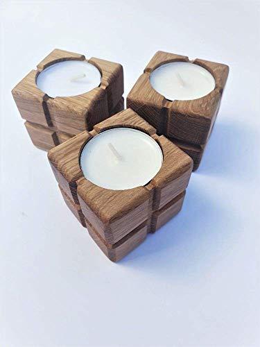 Teelichthalter Set aus Holz Kerzenhalter Dekoartikel, Holz Tischekoration