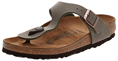 Birkenstock Women's Gizeh Birko Flor Regular Fit Toe Post Sandal Stone-Stone-7