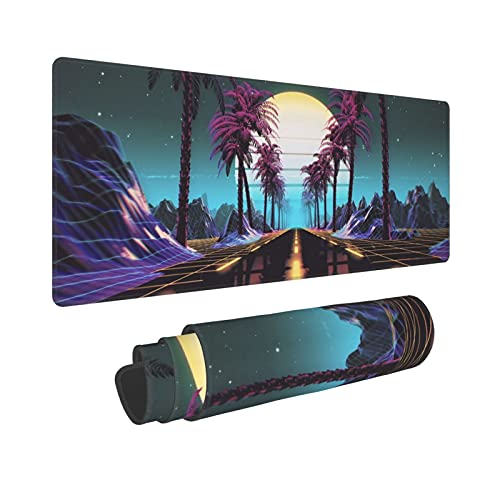 Retrowave Synthwave Large Gaming Mouse Pad XL Desk Mat Long Extended Mousepad Nonslip Rubber Base Stitched Edges Office Desktop Decor Mice Pads 31.5'' X 11.8''