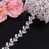 XKMY Cinturón de novia de 2,1 cm de ancho con cristales de oro rosa para vestido de novia, cadena de ajuste de ojo de caballo con diamantes de imitación para coser en prendas de vestir (color: plata)