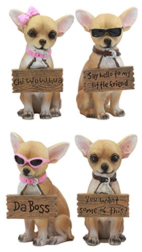 """Ebros Set of 4 Adorable Fashion Tea Cup Chihuahua Dogs Statues Each Wearing Humorous Faux Wood Collar Signs Small Chihuahuas Figurines 4.25"""" Tall (1)"""