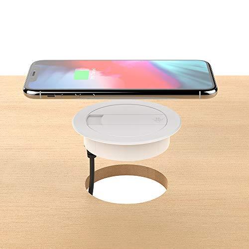 Foluu Kabelloses Ladegerät, 10 W, tragbar, kabellos, Ladestation und USB-Ladegerät, kompatibel mit iPhone Xs Max/XS/XR/X/8/8 Plus, Galaxy S9/S9+/S8/S8+/Note 8, alle Qi-fähigen Telefone, weiß