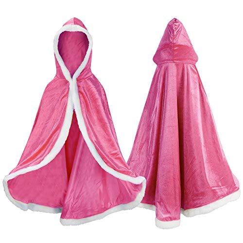 Proumhang Disfraz de Princesa Capa de Princesa para Niñas Disfraces para Halloween Trajes de Navidad Rosado 120 para 4-5 años