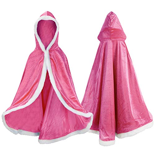 Proumhang Disfraz de Princesa Capa de Princesa para Niñas Disfraces para Halloween Trajes de Navidad Rosado 110 para 3-4 años