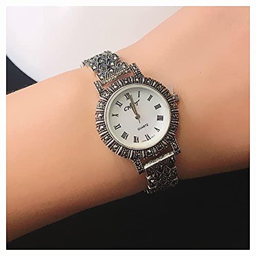 CHXISHOP Frauen Armbanduhr 925 Silber Uhr Wolfram Diamond Quarz Uhr Frauen Kleid Armbanduhr