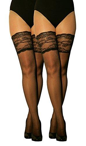 Marilyn transparente halterlose Strümpfe mit 15 cm Spitze, 2er Pack, 20 Denier, Größe 36/38 (S/M), Farbe 2x schwarz