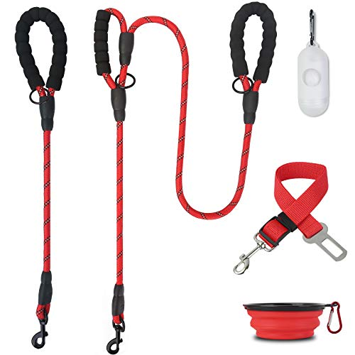 MUMUPET 2 Pack Dog Leash 5 FT Heavy Duty Dog Leash And 2 FT Strong Dog Leash With Comfortable Padded Handle and Highly Reflective Thread With Poop Bags Dispenser amp Pet Bowl amp Pet Car Seat Belt Leads