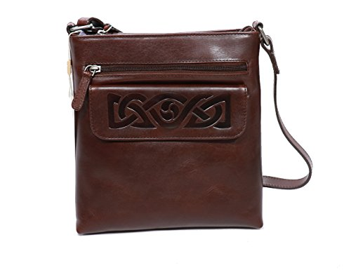 Biddy Murphy Irish Hand Bag Crossbody Brown Leather Embossed Celtic Weave Made in Ireland