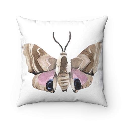 Diuangfoong Moth Pillowcase Cover Beige Brown Pink Pillowcasecase Farmhouse Decor Couch Pillowcase Accent Pillowcase Housewarming Pillowcase - 18 × 18 inches