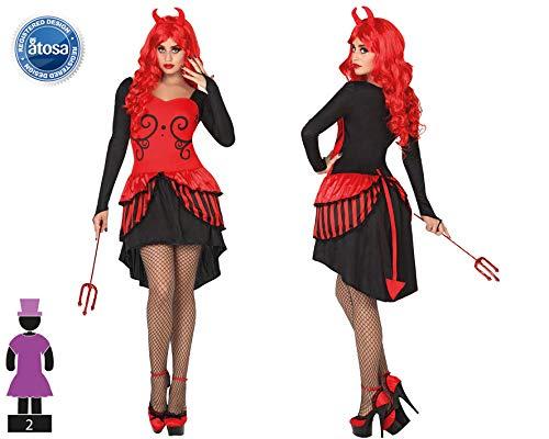 Atosa-26486 Disfraz Demonio para Mujer Adulto, color rojo, M-L (26486)