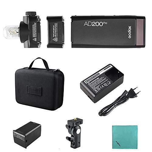 Godox AD200Pro Pocket Flash Portatil inalámbrico TTL con Cabeza Intercambiable (Speedlite/Bombilla Descubierta) GN52 GN60 1 / 8000s HSS 2.4G Wireless X System 200W para Nikon Sony Fujifilm
