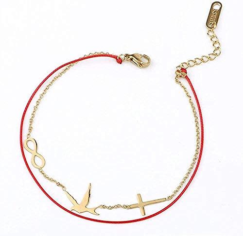 YZXYZH Collar Pulseras De Cadena De Eslabones De Doble Capa, Pulsera con Dije Infinito De Águila Cruzada para Mujer, Cadenas De Cuerda Simples, Longitud De La Joyería 22Cm Ajustable
