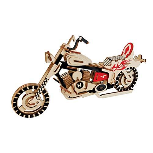 Healifty 3D Puzzle de Madera de Moto 3D Rompecabezas Moto Modelos de Puzzle para Niños Adultos Regalos de Juguete Bricolaje sin Acabado y Instrucciones (Halley Moto)