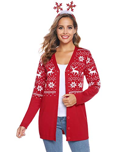 Abollria Women's Christmas Reindeer Cardigan Sweater Button Down Long Sleeve Cardigan Knit Sweater Cardigan Red