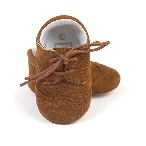ESTAMICO Baby Jungen PU Schnürsenkel Lauflernschuhe Kleinkind Sneaker Dunkelbraun 6-12 Monate