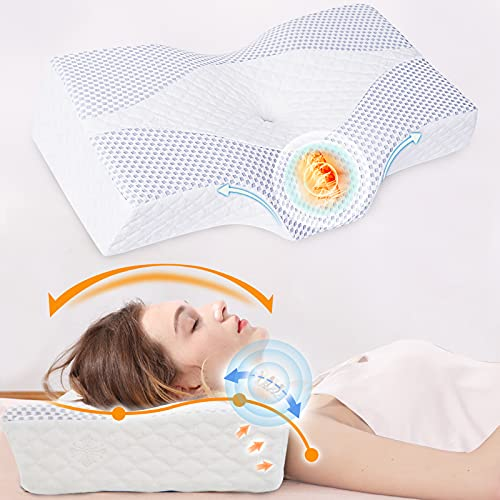 Contour Pillow for Neck and Shoulder Pain, IKSTAR Memory Foam Pillows for Sleeping, Cervical Neck Support Pillow for Side Back Stomach Sleepers with Cooling Pillowcase, Ear Pain Free [U.S. Patent]