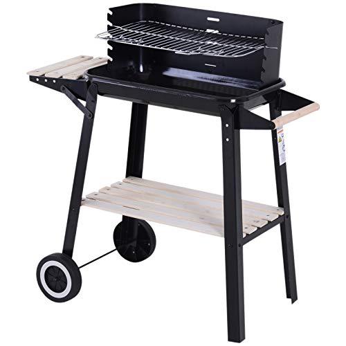 Outsunny Griglia a Carbone Barbecue BBQ Carrello Grill per Picnic con Ruote da Balcone Giardino in Ferro e Legno 83 × 45 × 87 cm Nero
