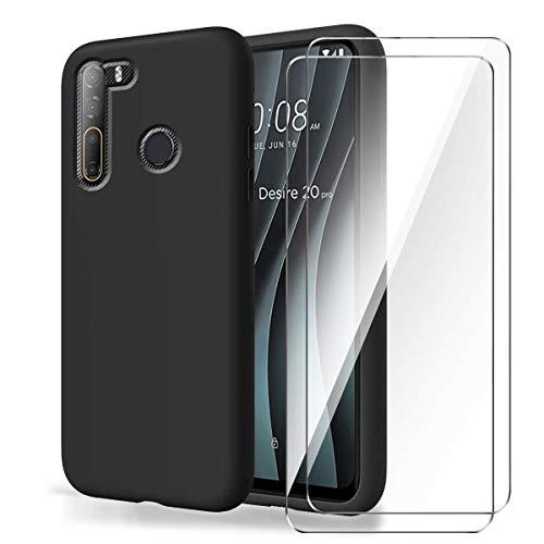 Brands LJSM Funda para HTC Desire 20 Pro + [2 Piezas] Vidrio Templado Película Protectora - Negro Carcasa Silicona TPU Suave Caso Case para HTC Desire 20 Pro (6.5')