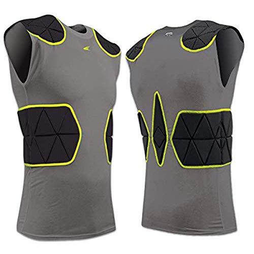 Champro Dri-Gear Gepolstertes Shirt für Jugendliche, Unisex-Erwachsene, Tri-Flex Fußball-Kompressionsshirt mit Polstersystem, Fju6ybs, Kohlefaser, schwarzer Einsatz, Small