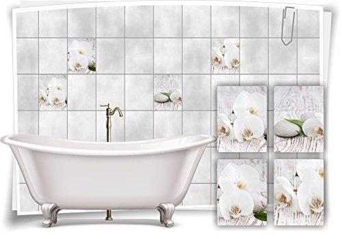 Medianlux Fliesenaufkleber Fliesenbild Blumen weiße Orchidee SPA Wellness Aufkleber Deko Bad Fliesen, 20x25cm