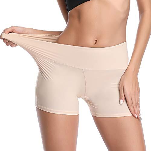 Joyshaper Unter Rock Kurz Hose Damen Miederhose Miederslip Miederpants Yoga Shorts Nahtlose Boyshort Panty Unterwäsche Weich Elastisch Leicht (Beige, M)