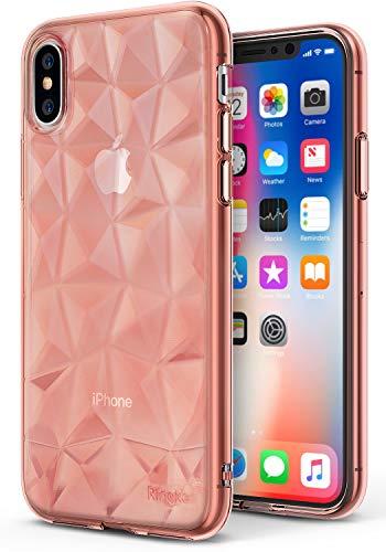 Ringke Cover iPhone X, [Air Prism] 3D Design Vogue Ultra Chic Piramide Bella Elegante Fantasia a Diamante Flessibile Trama Protettiva Simile a Gioiello Cover TPU Resistente - Cristallo Oro Rosa