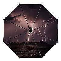 雷電 屋外UV保護防風セルフオープニング傘男性と女性のための防水傘