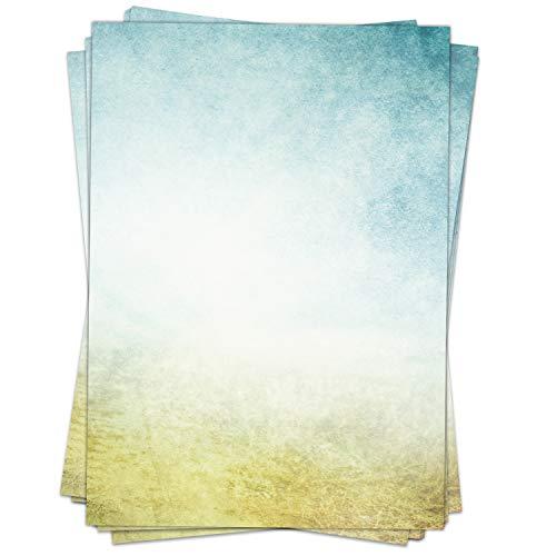 Briefpapier Design-Motiv MODERNER VERLAUF - 50 Blatt, DIN A4 Format - Bastel-Papier beidseitig bedruckt Set Vintage blau gelb