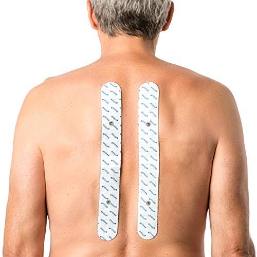 2 Elettrodi lunghi 33x4 cm per il dolore alla schiena - Compatibili con elettrostimolatore TENS e EMS Sanitas e Beurer - qualità axion