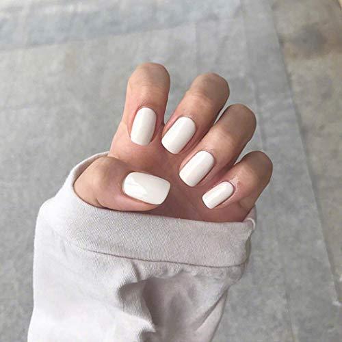 Genglass Square Falsche Fingernägel Glossy White Short False Nail Pure Color Acryl Vollständige Abdeckung Drücken Sie auf den Nagel für Frauen und Mädchen (Packung mit 24 Stück)