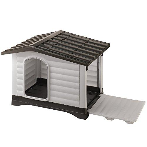 Ferplast DOGVILLA 110 - Cuccia da esterno per cani, in resina termoplastica, con Parete laterale ribaltabile, 111 x 84 x 79 cm