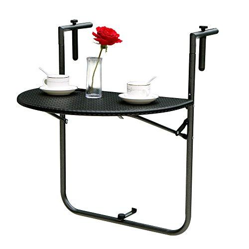 IKAYAA Verstellbarer klappbarer Balkon Deck Tisch Hängender Patio Geländer Esstisch Garten Patio Möbel Testbericht für EN581 70-83 * 60 * 39,5 cm