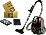 Ovente Electric Bagged Lightweight Canister Vacuum Cleaner with 3 Cleaning Tools for Hard Floor Carpet, Easy Clean & Storage, Bonus of Pack of 4 Dust Bags and 1 HEPA Filter, Black ST1600B + ACPST16041