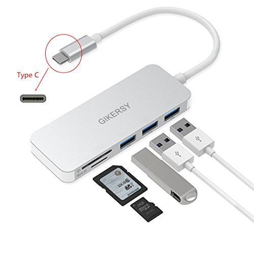 GIKERSY Hub USB C, 5 in 1 Adattatore con 3 Porte USB 3.0,1 Porta di Memoria SD/Micro SD per MacBook PRO 2018/2017/2016, iMac,Nuovo MacBook Air 2018, Chromebook e Altri Dispositivi Type-C