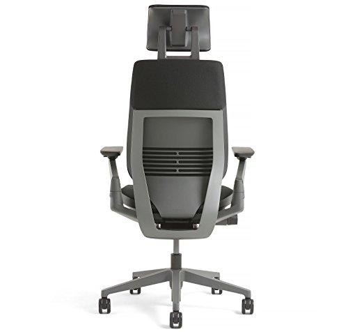 Steelcase Gesture Office Desk Chair with Headrest Cogent Connect Nickel Fabric Standard Black Frame