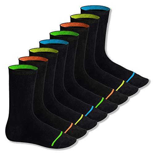 Footstar Herren und Damen Baumwollsocken (8 Paar), Schwarze Socken im Neon Erscheinungsbild - Neon Glow 43-46