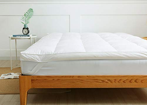 EXQUIZIT HOME Duck Down & Feather Mattress Topper 100% Cotton Cover Quality Box Stitched & Elasticated Corner Straps SIZE: Duck Topper Double